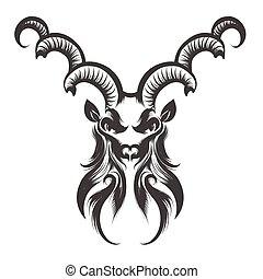 Capricorn Head Engraving Illustration