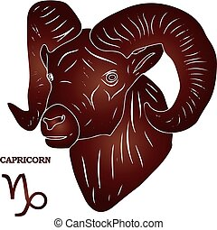 Capricorn head with brown gradient, silhouette on white background,