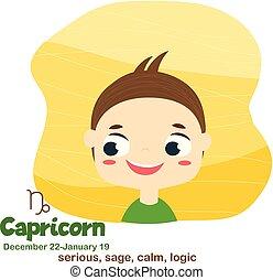 Capricorn. Kids zodiac. Children horoscope sign. Astrological symbols in cartoon style