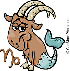 capricorn or the sea goat zodiac sign - Cartoon Illustration...