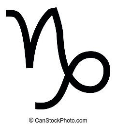 Capricorn symbol zodiac icon black color illustration flat style simple image