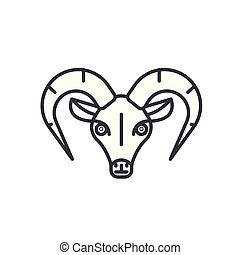 capricorn vector line icon, sign, illustration on background, editable strokes