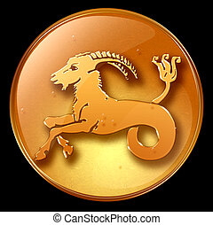 Capricorn zodiac button, isolated on black background