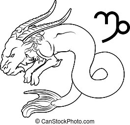 Capricorn zodiac horoscope astrology sign - Illustration of...
