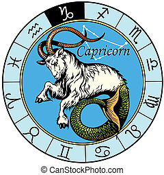 capricorn astrological zodiac sign, image isolated on white