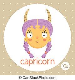 Capricorn zodiac sign, girl w horns