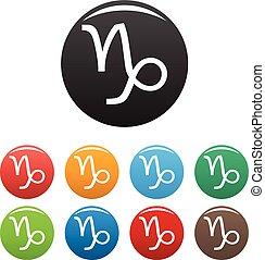 Capricorn zodiac sign icons set vector simple