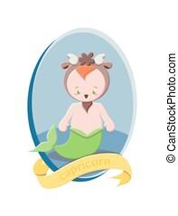 Capricorn zodiac sign illustration. Vector art for children.