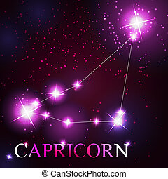 Capricorn zodiac sign of the beautiful bright stars on the background of cosmic sky