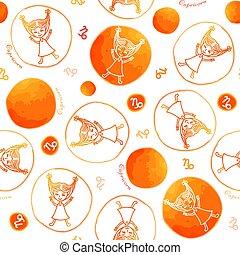 Capricorn zodiac sign seamless pattern