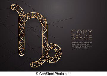 Capricorn Zodiac sign wireframe Polygon golden frame structure, Fortune teller concept design illustration isolated on black gradient background with copy space, vector eps 10