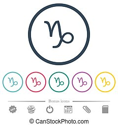 Capricorn zodiac symbol flat color icons in round outlines