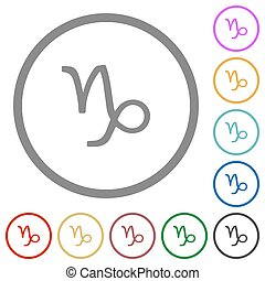 Capricorn zodiac symbol flat icons with outlines