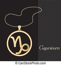 capricorne, collier or