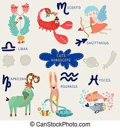 capricorne, horoscope., verseau, set., zodiaque, mignon, scorpion, sagittaire, balance, poissons
