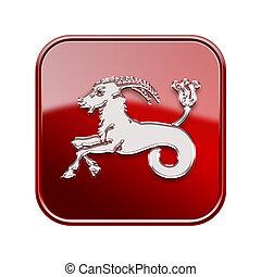 capricorne, zodiaque, icône, rouges, isolé, blanc, fond