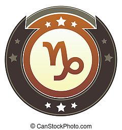 capricorne, zodiaque, impérial, bouton