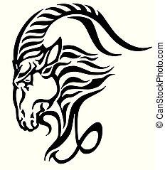 capricornio, logotipo, cabeza