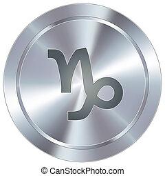 capricorno, industriale, zodiaco, bottone