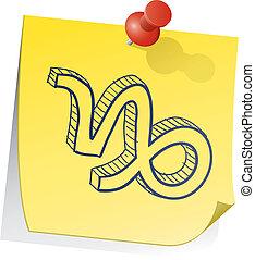 capricorno, zodiaco, nota, appiccicoso