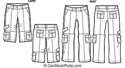 capris, senhoras, calças