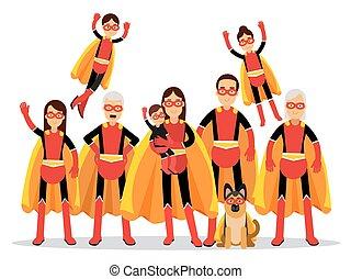caps, famille, grand-père, chien, illustration, grand-mère, vecteur, père, mère, orange, enfants, superheroes