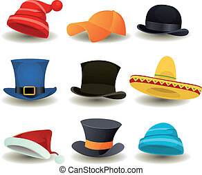 Illustration of a set of cartoon top or derby hats, baseball sport winter caps, sombreros and other headwear clothes equipment