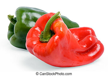 Capsicum - Close up off a red and green paprika. Isolated, ...