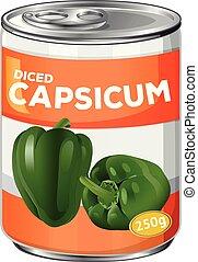 capsicum, diced, lata