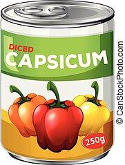 capsicum, lata, diced