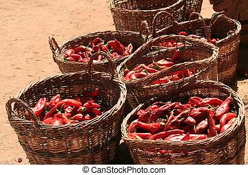 (capsicum, pimentas, annuum), chile, cestas