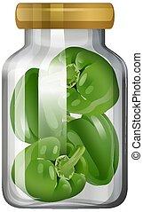 capsicum, vaso, vetro