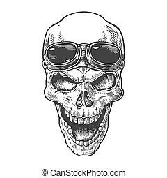 capstrzyk, element, illustration., czaszka, rocznik wina, odizolowany, afisz, forehead., tło., biker, wektor, projektować, motocykl, pociągnięty, czarnoskóry, uśmiechanie się, ręka, biały, club., okulary