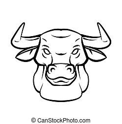capstrzyk, głowa, wektor, byk, illustratio