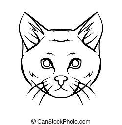 capstrzyk, głowa, wektor, ilustracja, kot