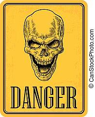 capstrzyk, illustration., czaszka, pociągnięty, rocznik wina, danger., odizolowany, żółty znak, tło., biker, wektor, projektować, afisz, czarnoskóry, element, ręka, club.