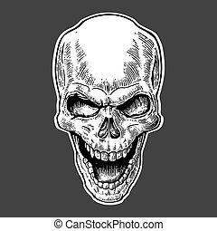 capstrzyk, illustration., czaszka, rocznik wina, odizolowany, afisz, ręka, ciemny, tło., biker, wektor, projektować, ludzki, pociągnięty, czarnoskóry, element, club., smile.