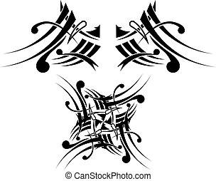 capstrzyk, plemienny, projektować, black-white