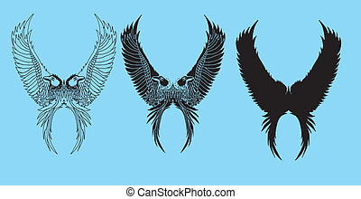 capstrzyk, plemienny, ptaszki, wektor, sztuka