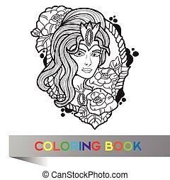 capstrzyk, projektować, od, ładny, dziewczyna, z, długi, kędzierzawy włos