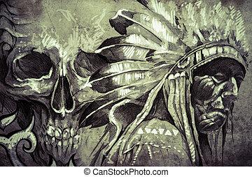 capstrzyk, rys, czaszka, wojownik, plemienny, amerykanka,...