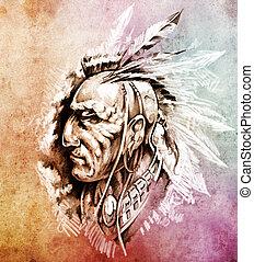 capstrzyk, rys, indianin, barwny, na, amerykanka,...