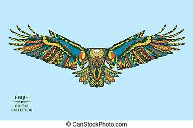 capstrzyk, rys, t-shirt., eagle., stylizowany, zentangle, albo