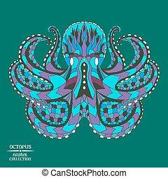 capstrzyk, rys, t-shirt., zentangle, stylizowany, octopus., albo