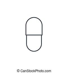 capsul red pill thin line icon. Linear vector symbol - ...