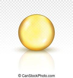 capsula, olio, pillola, oro