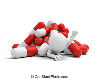 Capsule, a man for help, pressed by a pile of capsules