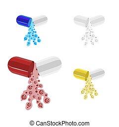 capsule., blauwe vloeistof, gelul, gele, medisch, open, rood, gieten, witte