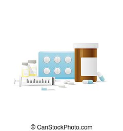 Capsule bottle and Pills medicine panel and Injection needle illustration vector on white background. Medical concept.