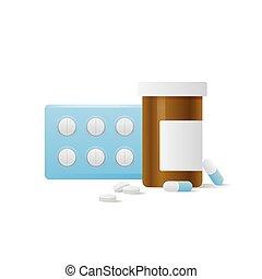 Capsule bottle and Pills medicine panel illustration vector on white background. Medical concept.